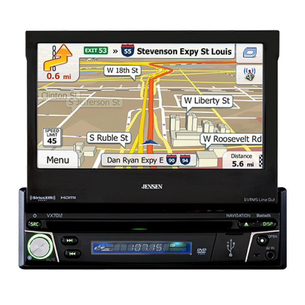 "JENSEN VX7012  7"" Flip-Out w/ Navigation, Bluetooth, Sirus/XM Radio"